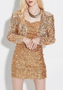 Golden Plain Shining Sequin Crop Fashion Party Eve Long Sleeve Coat