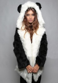 White Patchwork Pockets Hooded Long Sleeve Cute Coat
