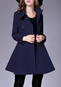 Dark Blue Plain Pockets Double Breasted Band Collar Peplum Peacoat Trench Coat