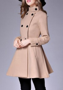 Camel Plain Pockets Double Breasted Band Collar Peplum Peacoat Trench Coat