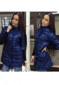Dark Blue Patchwork Pockets Single Breasted Band Collar Long Sleeve Coat
