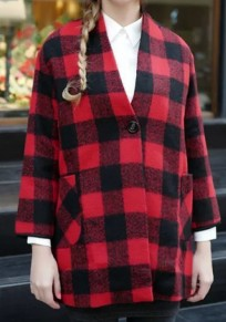 Red Plaid Buttons Pockets V-neck Long Sleeve Coat