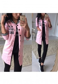 Pink Monogram Single Breasted Pockets Band Collar Long Sleeve Coat