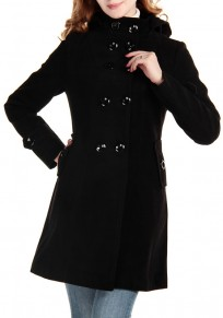 Black Plain Studded Buttons Pockets High Neck Coat