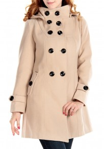 Apricot Plain Studded Buttons Pockets High Neck Coat