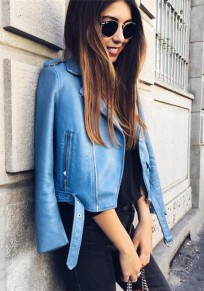 Blue Plain Pockets Zipper Studded Long Sleeve PU Leather Coat
