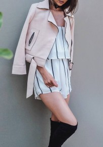Pink Plain Irregular Turndown Collar Fashion Suede Coat
