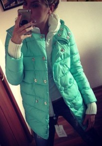 Green Patchwork Pockets Double Breasted Fashion Down Coat