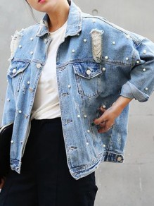 Blue Pearl Pockets Ripped Single Breasted Fashion Denim Coat