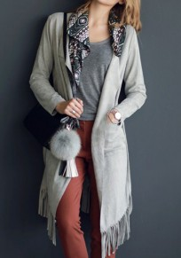 Grey Plain Tassel Irregular Collar Streetwear Cotton Coat