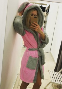 Pink Patchwork Pockets Belt Hooded Long Sleeve Pajamas Coat