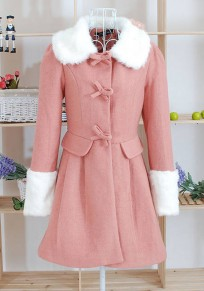 Pink Patchwork Pleated Bow Fur Collar Fashion Coat