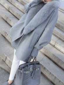 Grey Plain Pockets Faux Fur Turndown Collar Oversized Wool Coat