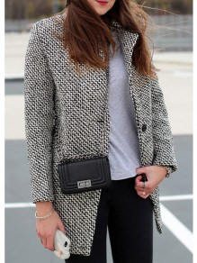 Grey Plain Buttons Turndown Collar Long Sleeve Coats