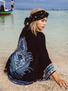 Black Boho Floral Print Irregular Cardigan Sweet Cover Up Beach Kimono