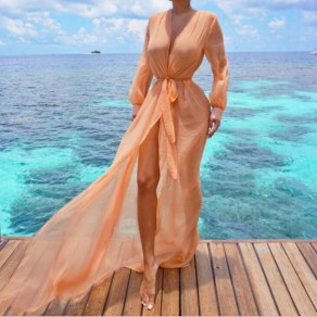Orange Grenadine Sashes See-through Lantern Sleeve Sheer Chiffon Thin Coat