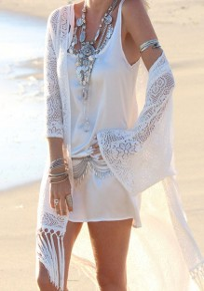 Weiß Spitze Blumendruck Fransen Bohemian Kimonos Strand Oberteile Bikini Cover Up Günstig Damen Mode