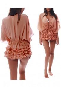 Cordage à colombes en cascade dolman manches bikini blouse de plage rose