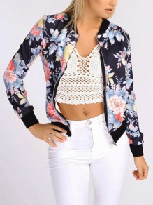 Black Floral Zipper Round Neck Long Sleeve Casual Coat