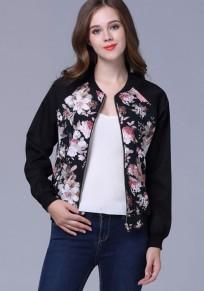 Black Flowers Print Zipper Round Neck Long Sleeve Fashion Coat