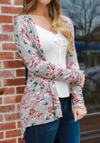 Grey Floral Draped Irregular Long Sleeve Casual Outerwear