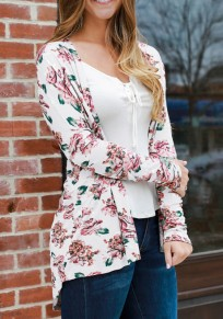White Floral Draped Irregular Long Sleeve Casual Outerwear