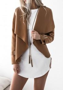Camel Studded Turndown Collar Fashion Polyester Coat