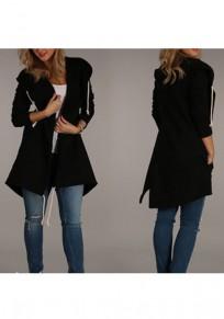 Trench-coat asymétrique avec capuche poches fentes latérales manches longues femme décontracté noir