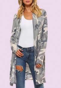 Multicolor Camouflage Print No Button Long Sleeve Coat
