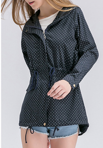 Blue Polka Dot Drawstring Buttons Pockets Zipper Plus Size Casual Coat