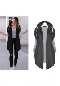 Black Plain Drawstring Long Sleeve Hooded Casual Coat