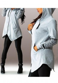Grey Monogram Irregular Pockets Zipper Drawstring Hooded Long Sleeve Outerwear