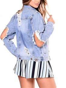 Light Blue Cut Out ripped Turndown Collar Single Breasted distressed jean jacket