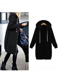 Black Zipper Pockets Hooded Plus Size Long Sleeve Casual Coat