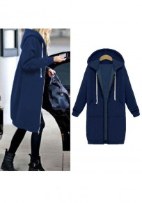 Navy Blue Zipper Pockets Hooded Plus Size Long Sleeve Casual Coat