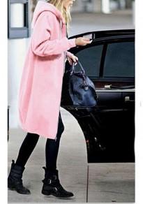 Manteau mi-longue à capuche poches fermeture éclair femme décontracté sweatshirt rose
