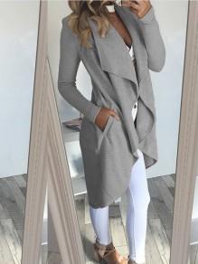 Grau Unregelmäßig Turndown Kragen Langarm Beiläufige Mantel Langer Cardigan Damen Mode