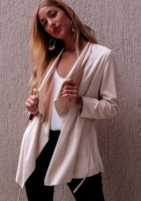 Apricot Drawstring Turndown Collar Long Sleeve Casual Dacron Coat