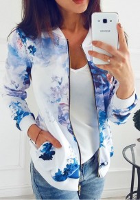 Blue Floral Zipper Pockets Round Neck Long Sleeve Outerwear