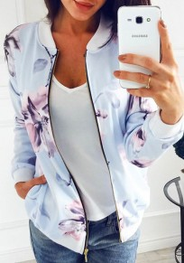 Light Blue Floral Zipper Pockets Round Neck Long Sleeve Outerwear