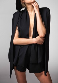 Black Patchwork Irregular Cape Long Sleeve Fashion Suit