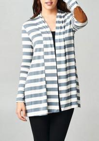 Grey-White Striped Draped V-neck Long Sleeve Casual Coat