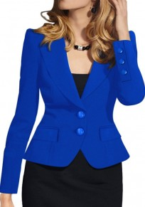 Blue Buttons Pockets Turndown Collar Long Sleeve Fashion Coat