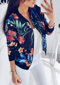 Blue Floral Print Round Neck Zipper Casual Cotton Coat