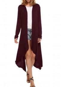 Wine Red Irregular Long Sleeve Fashion Cardigan Outerwear