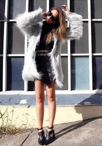 Mi-long veste en fausse fourrure manches longues élégant hiver manteau gris femme