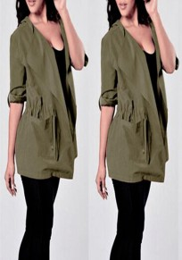 Army Green Drawstring Pockets Hooded Long Sleeve Plus Size Trench Coat