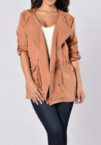 Nacarat Drawstring Pockets Hooded Long Sleeve Plus Size Trench Coat