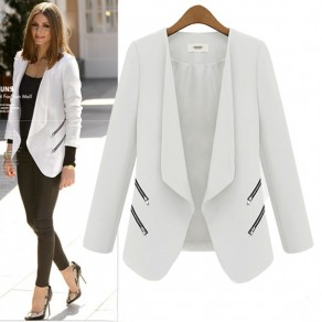 White Plain Zipper Pockets Tailored Collar Office Worker Coat
