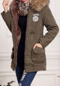 Mi-longue manteau à capuche fausse fourrure manche longues hiver décontracté femme parka kaki vert